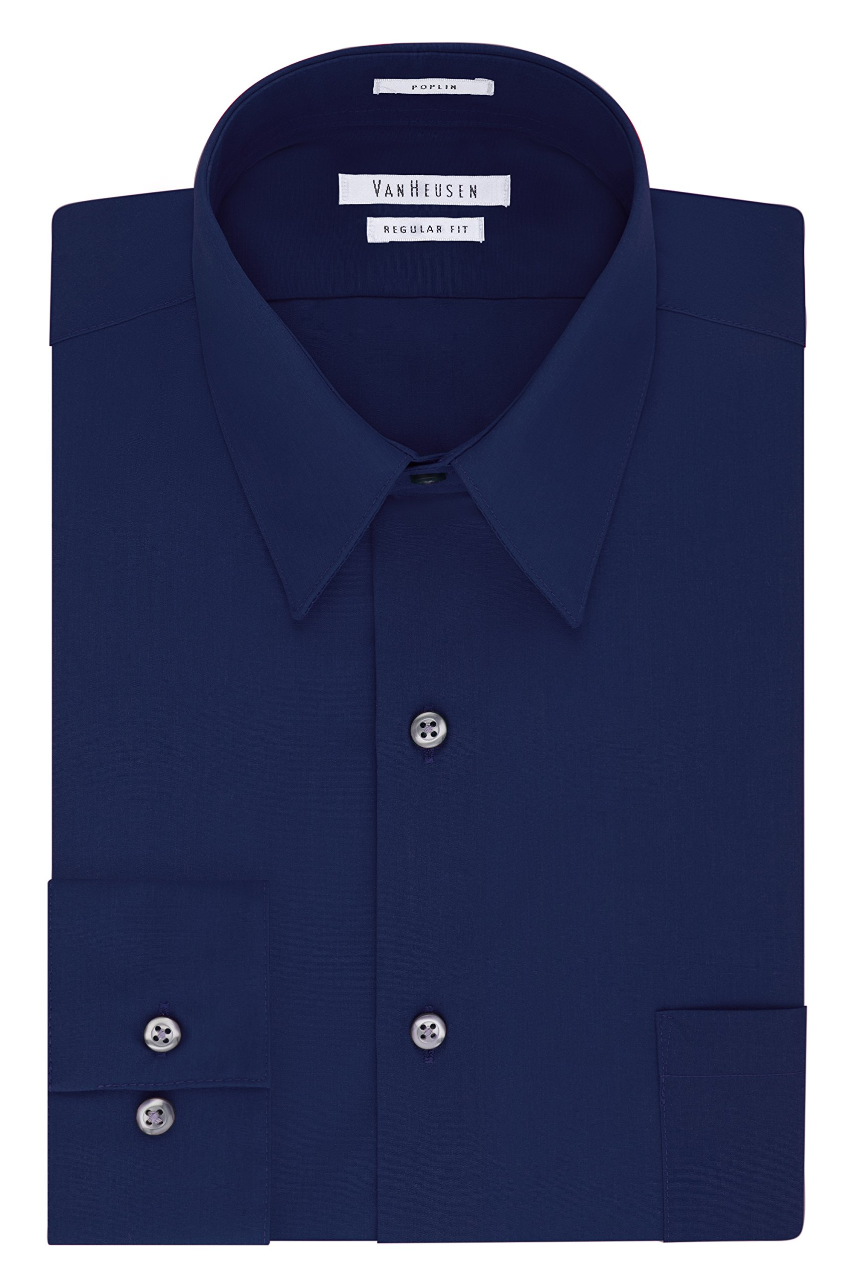 Van Heusen Men's Poplin Regular Fit Solid Point Collar Dress Shirt, Persian Blue, 15'' Neck 32''-33'' Sleeve