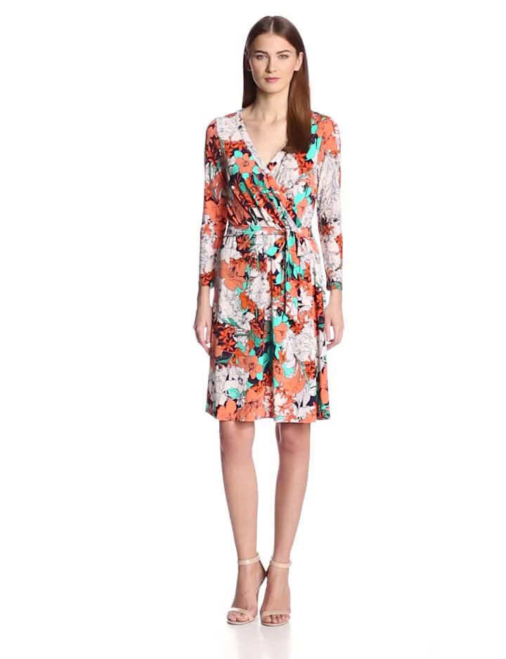 Anne Klein Women's Petite Floral Print Wrap Dress