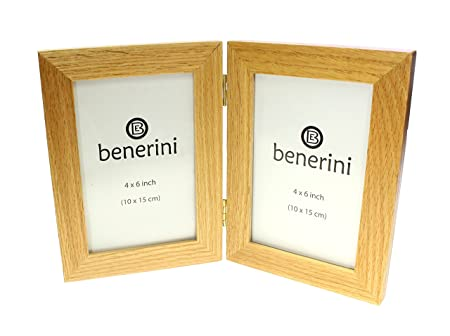 Natural Oak Wooden 2 Picture Double Photo Frame - Hold 2 Photos 6 x ...