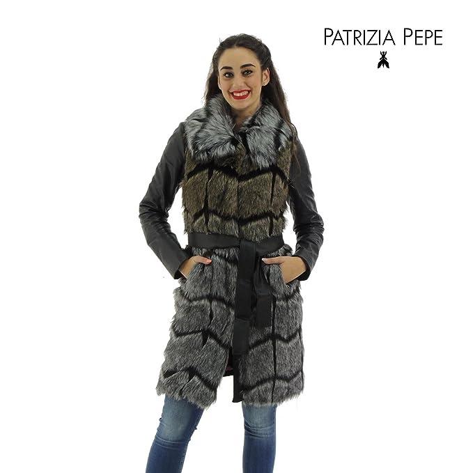 100% authentic 50eec a988a Patrizia Pepe cappotto donna maxi gilet pelliccia sintetica 2L0704 made in  Italy (40, BEIGE)