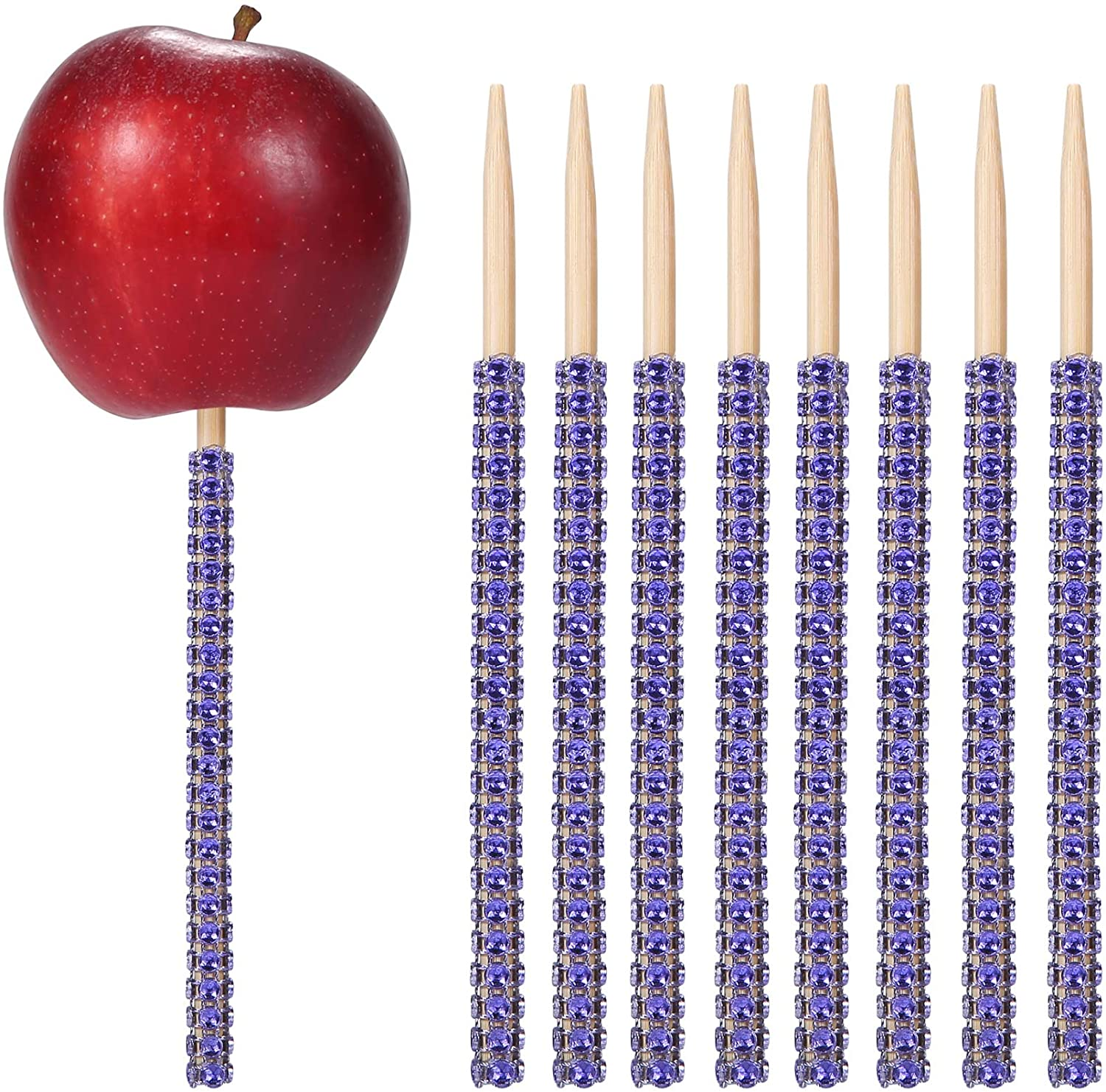 24ct Rhinestone Bling Bamboo Candy Apple Sticks 6 inch for Cake pop Chocolate Caramel Apple Skewers Buffet Party Favor Candy Making Accessories by Quotidian (Royal Blue)