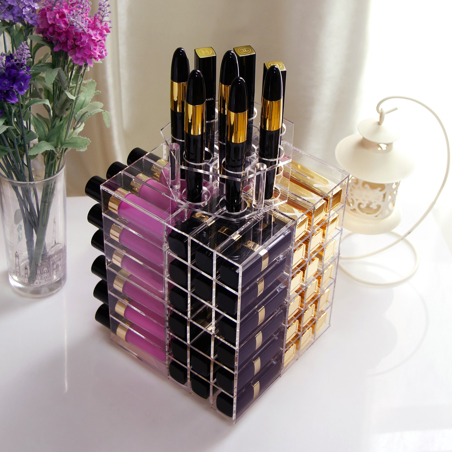 Amazon.com: Lifewit Spinning Lipstick Tower Premium Acrylic Rotating  Lipgloss Holder Makeup Organizer 81 Slot Vitreous Cosmetic Storage Box  Solution Large: ...