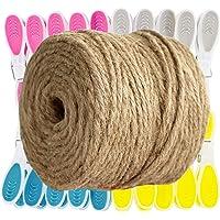 GRÜNTEK Jute touw 4 mm dikte 100 m met 20 wasknijpers, bindgaren, tuinkoord, knutselkoord, rol met 100 m, 100% jutegaren…