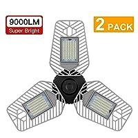Deals on 2-Pk LZHOME Deformable LED Garage Ceiling Lights 9000 Lumens