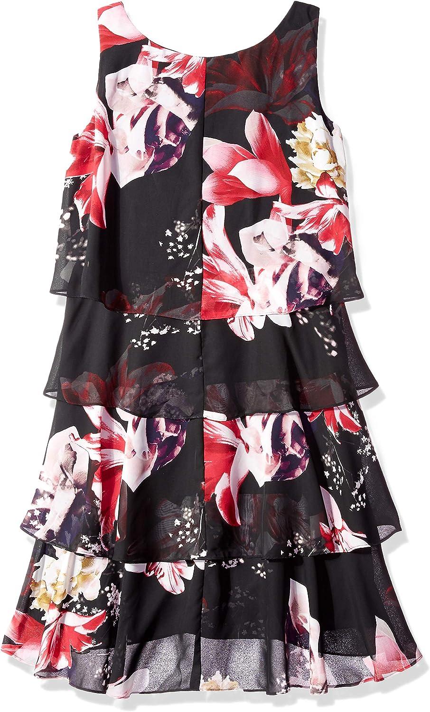 S.L. Fashions Women's Sleeveless Chiffon Tiered Cocktail Dress Red/Black
