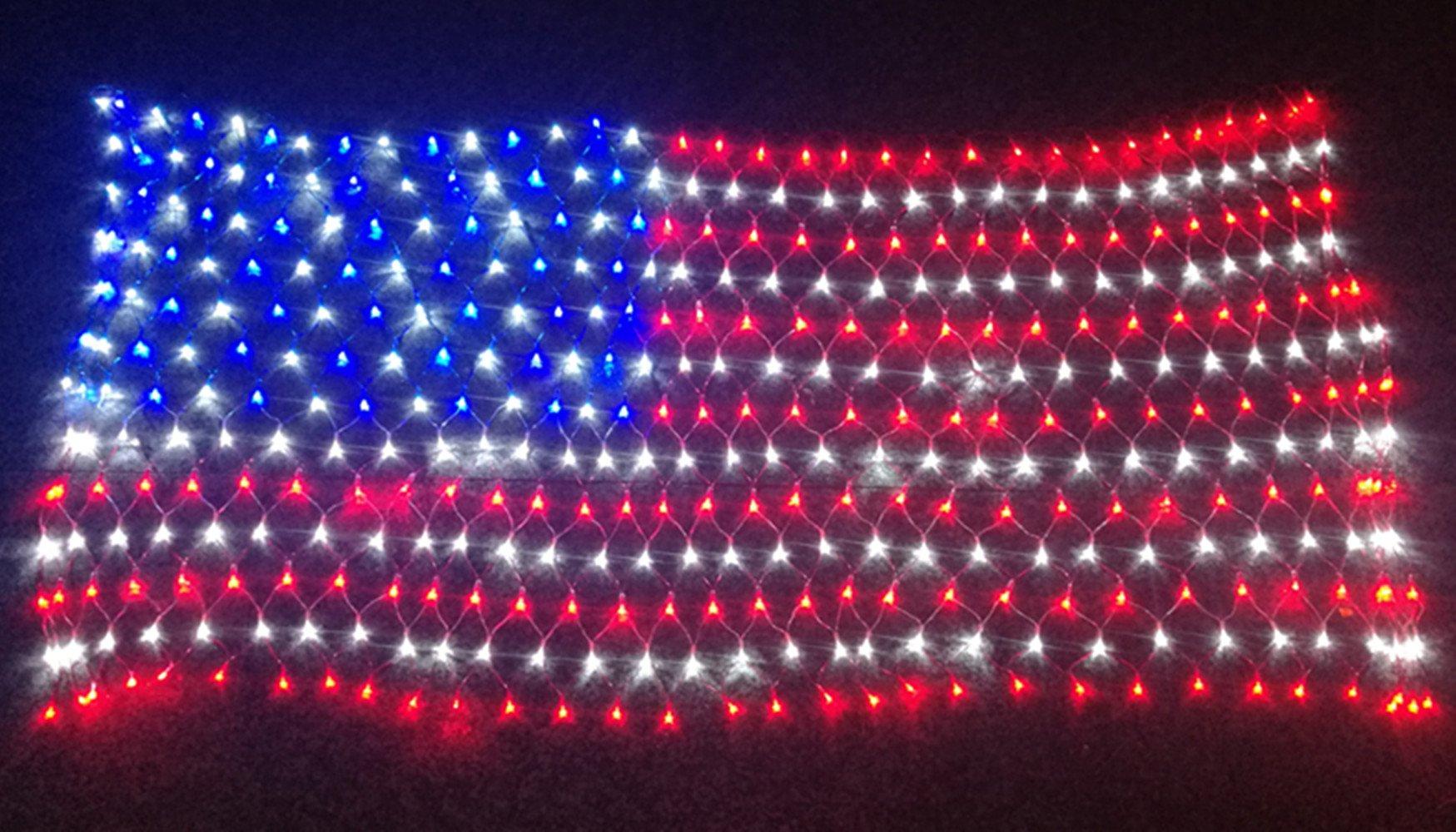 PYSICAL® 6.5ft×3.2ft Led Flag Net Lights of The United States,for Festival,Holiday,Garden,Indoor Decoration