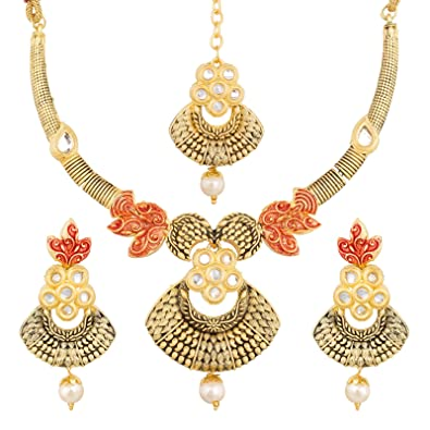 329035a109f3 Buy Aadita Ethnic Traditional Mazzak Alloy Kundan and Pearl Necklace Set  for Women and Girls Online at Low Prices in India