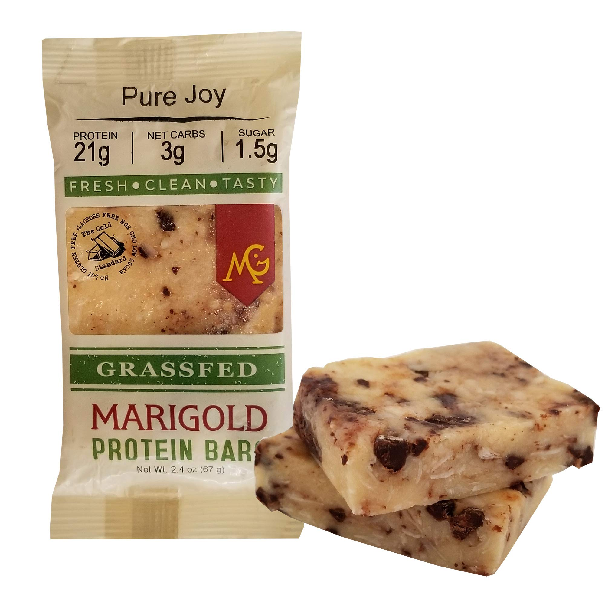 Keto (2-3 NET CARB) Protein Bar by MariGold - Amazing Taste Ketogenic Snacks - Organic Fats, 1 g Sugar, 21 g Protein GRASS FED Whey - Non GMO. Made Fresh, Ships Fresh. (12 bars) by MariGold Bars (Image #8)