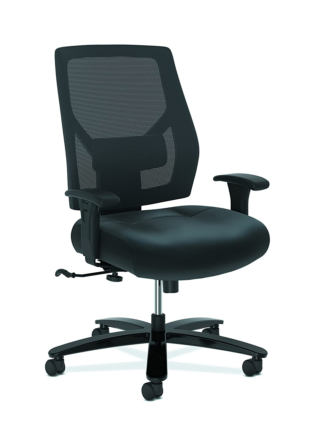 The HON Company HON Crio High Big and Tall Leather Mesh Back Computer Chair for Office Desk, Black (HVL581), Swivel/Tilt