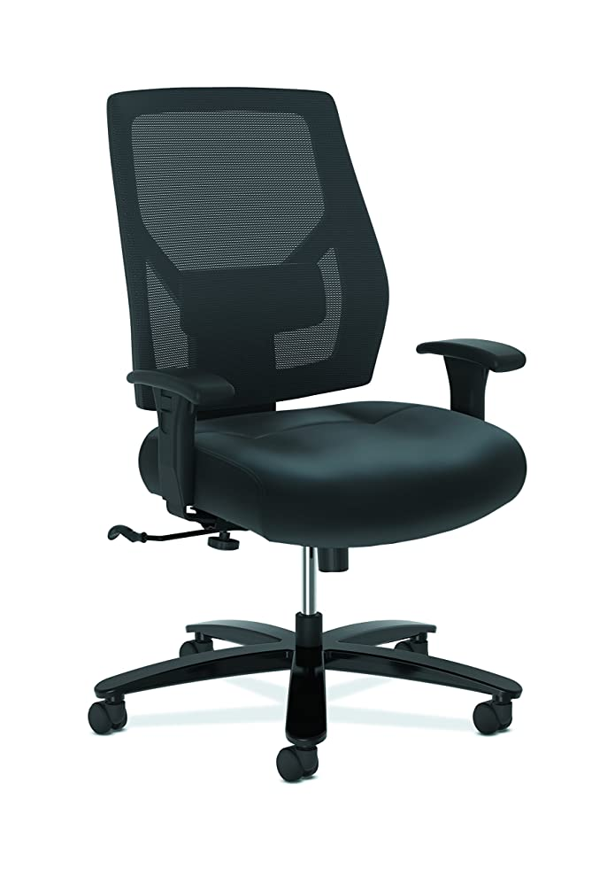 HON Crio Series High-Back Big and Tall Chair - Leather Mesh Back Computer Chair for Office Desk, Black (HVL585)