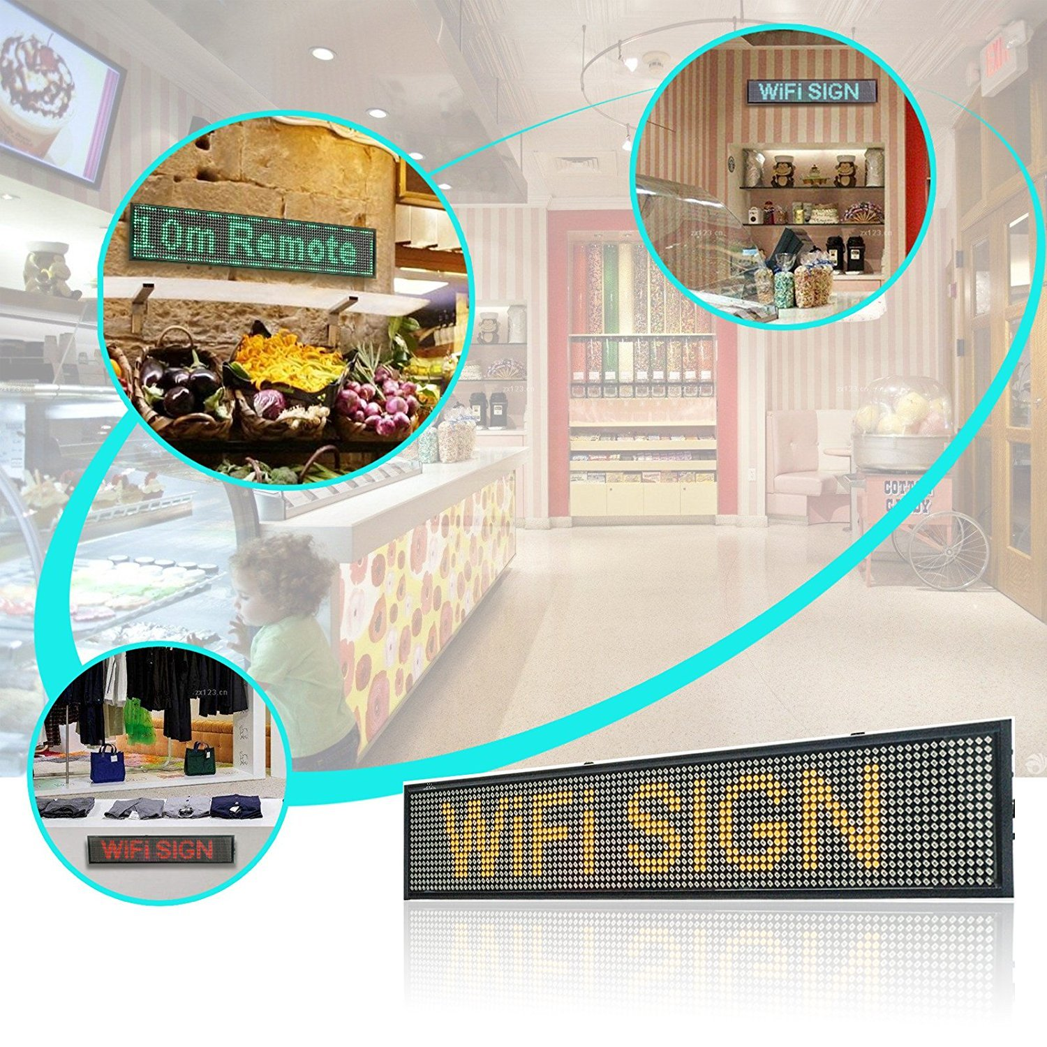 "26"" Wireless LED Sign Message Board P5 Scrolling LED Store Signs WiFi Connection Fast Programmable"