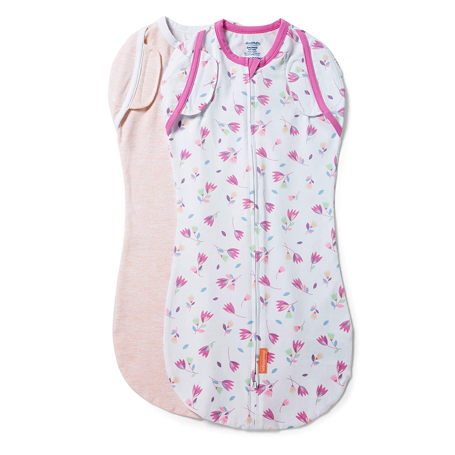 SwaddleMe Arms Free Convertible Pod – Size Large, 3-6 Months, 2-Pack (Tumbling Tulips)