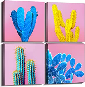 "Cactus Decor Home Decorations Wall Art For Living Room Framed Pictures Canvas Prints Colorful Pop Fashion Tropical Desert Plant Girl Pink Blue Modern Contemporary Artwork Set of 4 Piece 12 × 12""x4"