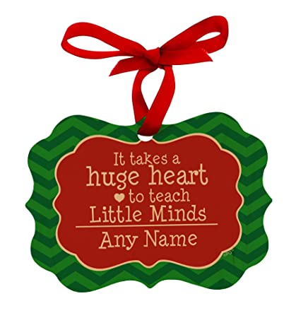 personalized christmas ornaments teachers customized teacher name takes huge heart to teach little minds maple wood