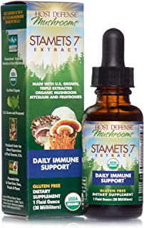 product image for Host Defense, Stamets 7 Extract, Daily Immune Support, Mushroom Supplement with Lion's Mane, Reishi, Vegan, Organic, Gluten Free, 1 oz (30 Servings)