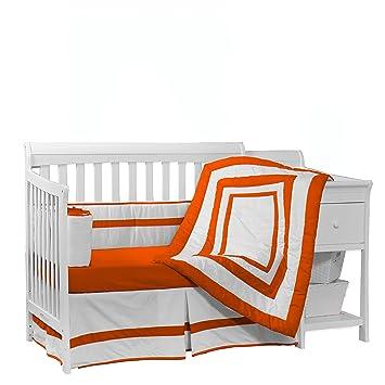 Orange BabyDoll Chevron Crib Dust Ruffle