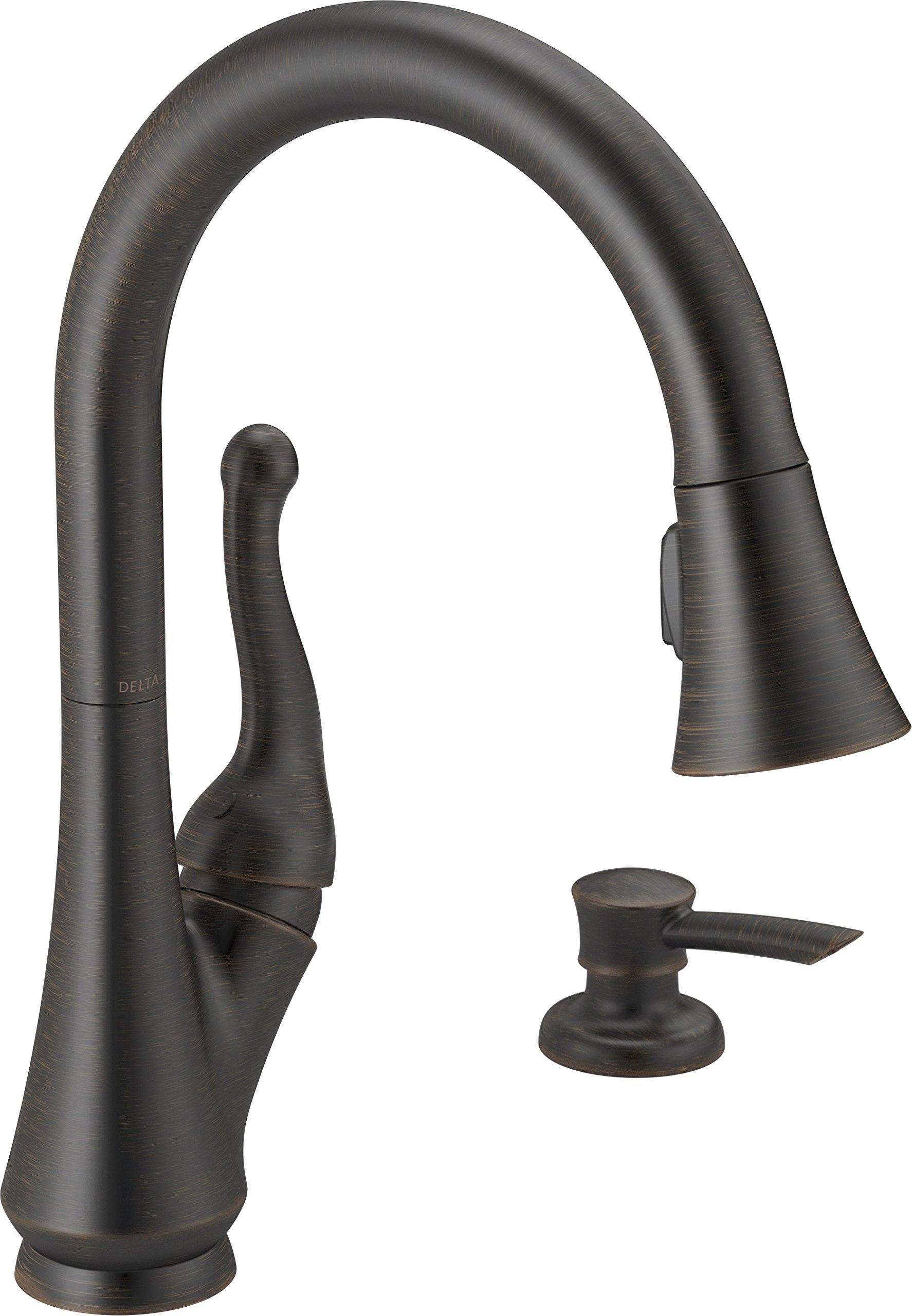 Delta Faucet Talbott Single-Handle Kitchen Sink Faucet with Pull Down Sprayer, Soap Dispenser and Magnetic Docking Spray Head, Venetian Bronze 16968-RBSD-DST