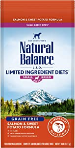 Natural Balance L.I.D. Limited Ingredient Diets Small Breed Bites Dry Dog Food, Salmon & Sweet Potato Formula, 4 Pounds