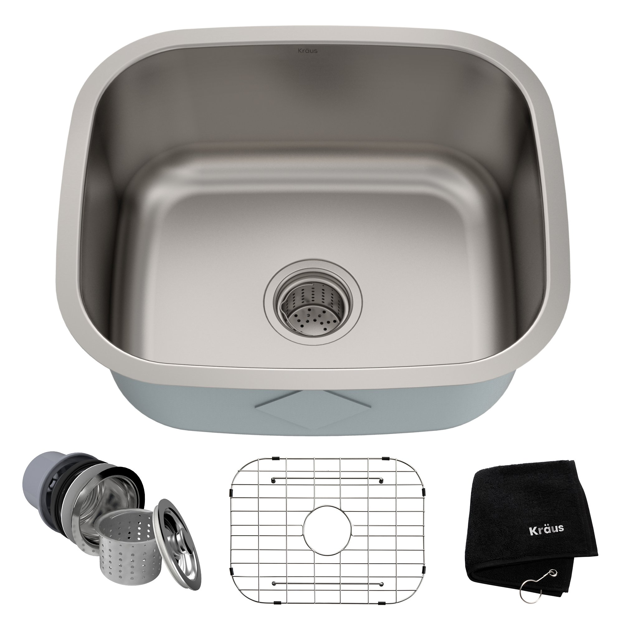 Kraus KBU11 20 inch Undermount Single Bowl 16 gauge Stainless Steel Kitchen Sink by Kraus