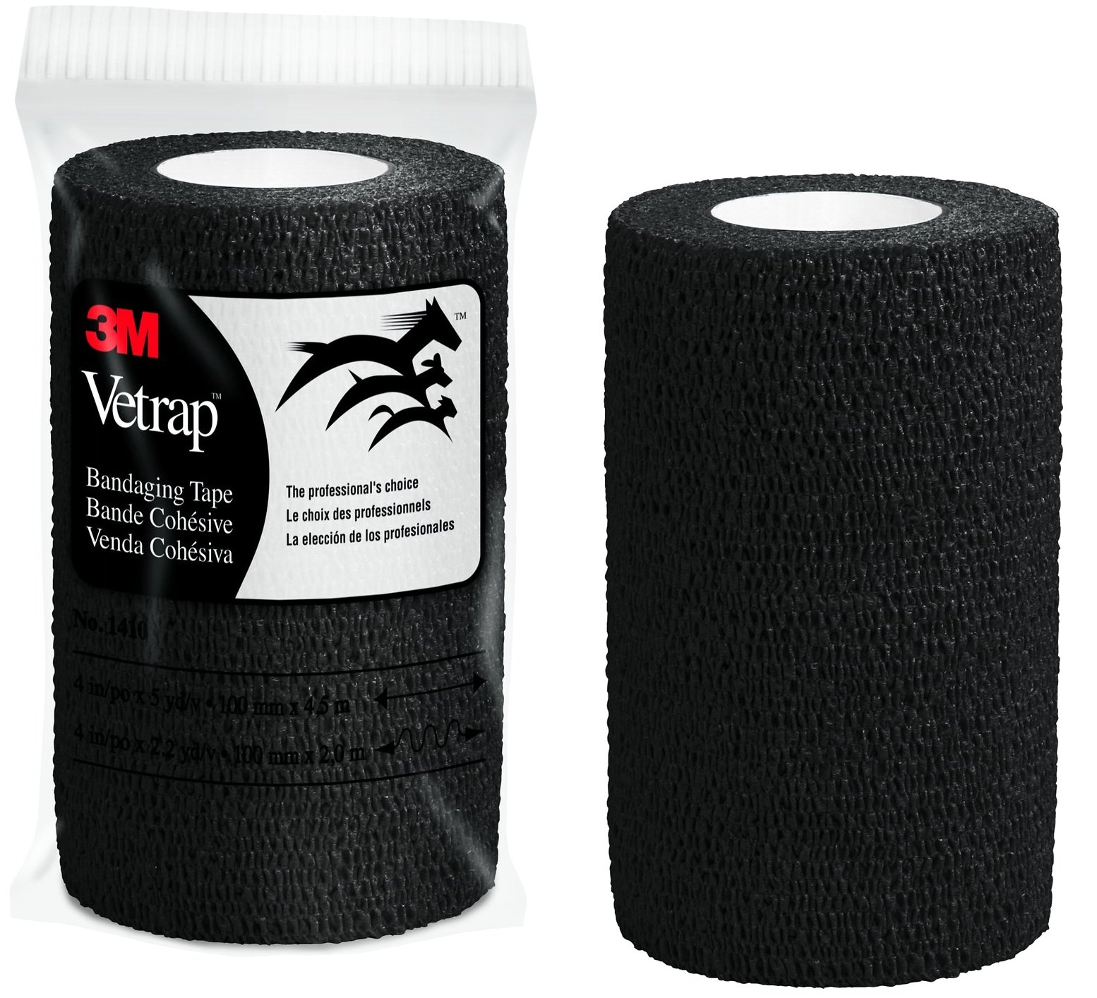 3M Vetrap 4'' Bandaging Tape, 4''x 5 Yards, Black (100) by 3M