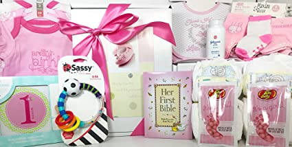 baby girl gift set box basket 18 items for the new bundle of joy