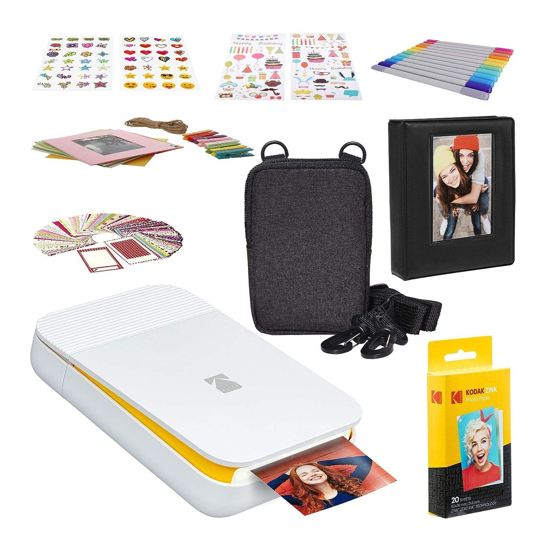 KODAK Smile Impresora Digital instantánea + Zink Conjuntos de Adhesivos Coloridos y Decorativos para proyectos de Papel fotográfico instantáneo + Set ...