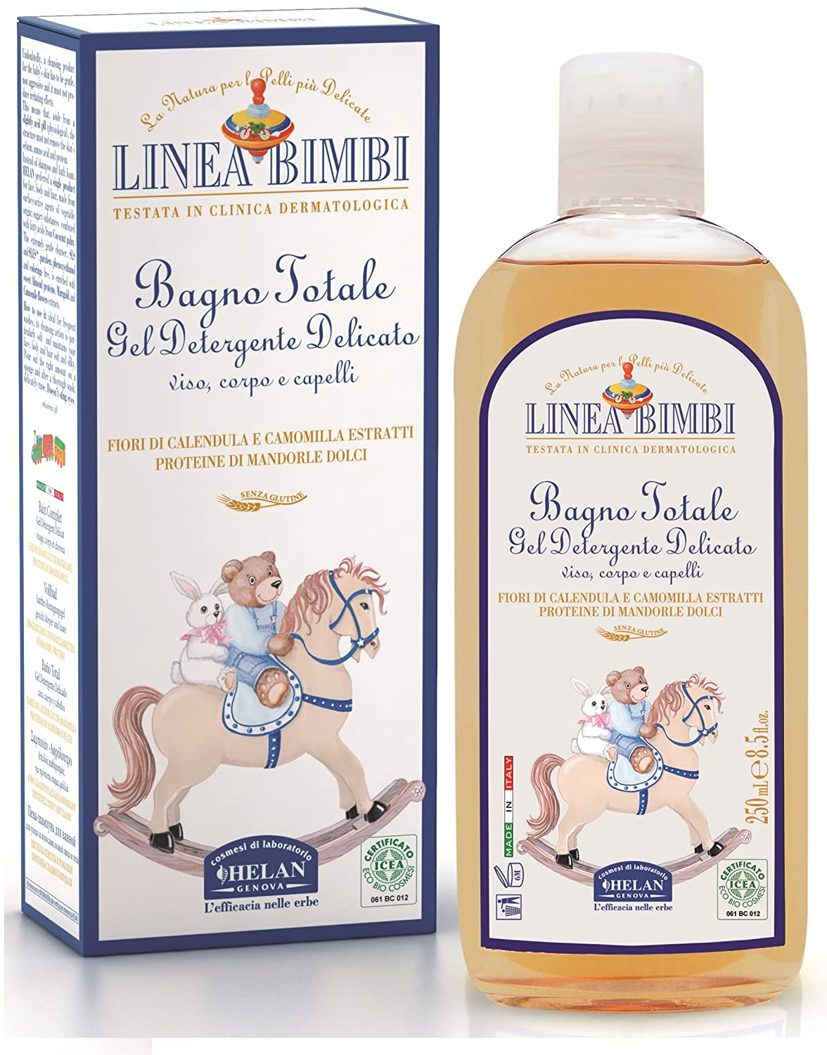 Linea Bimbi Certified Organic 2 in 1 Baby Shampoo Body & Hair Wash for Sensitive Skin No Tears Vegan Friendly Dermatology Tested, 250ml Helan 5060425240103