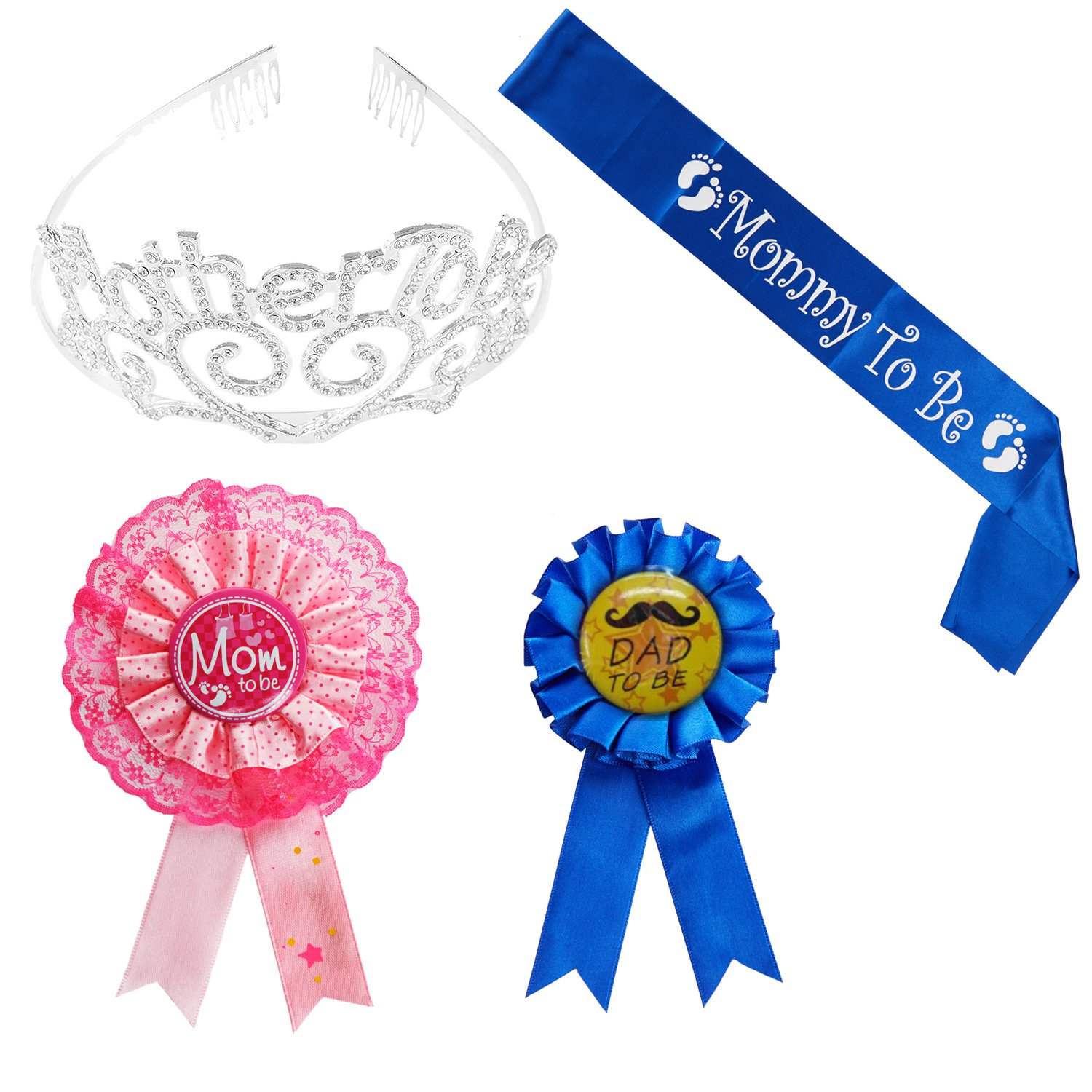 Mother To Be Tiara Hearts Crown + Mom To Be Sash + Mom To Be Pin + Dad To Be Pin - Baby Shower Party Favors Decorations Gift For Boy or Girl (Mother to be - Blue_2, OneSize)