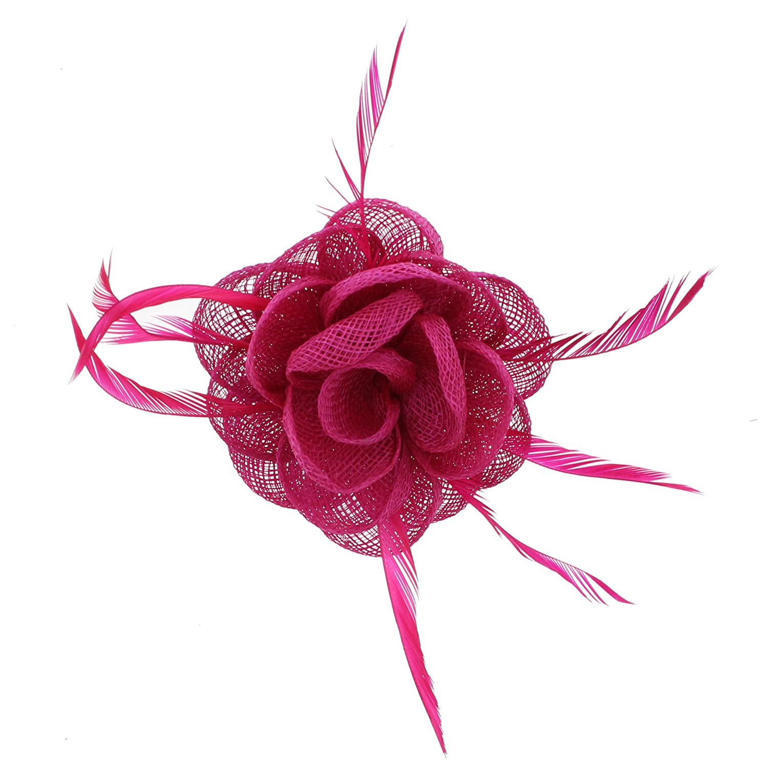 Zac's Alter Ego Colourful Rose Net Fasinator with Feathers on Clip & Brooch Pin