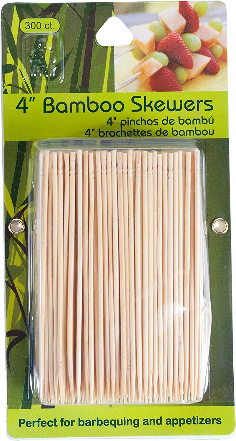 Jacent 4 Inch Appetizer Bamboo Skewers. 300 Count per Pack, 1-Pack