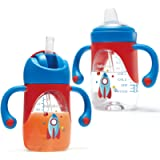 Hahaland 2 in 1 Sippy Cups for Toddlers with Spout & Straw, 2PCS Weighted Straw, Spill Proof Baby Trainer Leaner…