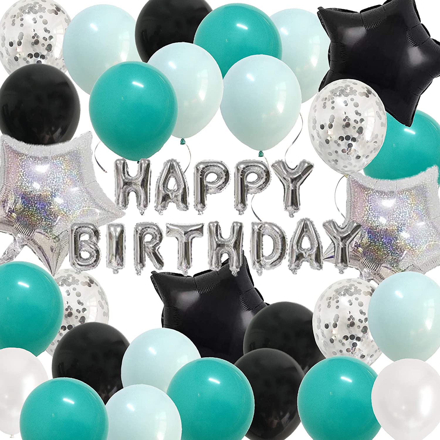 Teal Silver birthday Decorations - Happy Birthday Party Balloons black Turquiose for Boys Girls B-day Decor Supplies (Teal Silver)