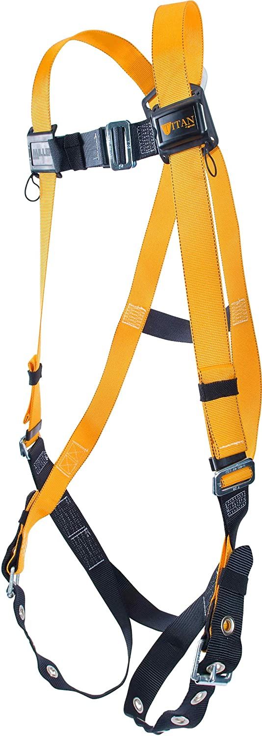 Titan ll Non-Stretch Full Body Safety Harness with Mating Buckle Chest Strap & Tongue Buckle Leg Straps, Size 3X, 400 lb. Capacity (T4500/XXXLAK)