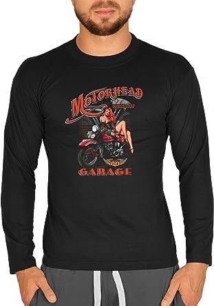 Biker Camisa – Motorhead Garage with Pin Up Girl – Camiseta ...