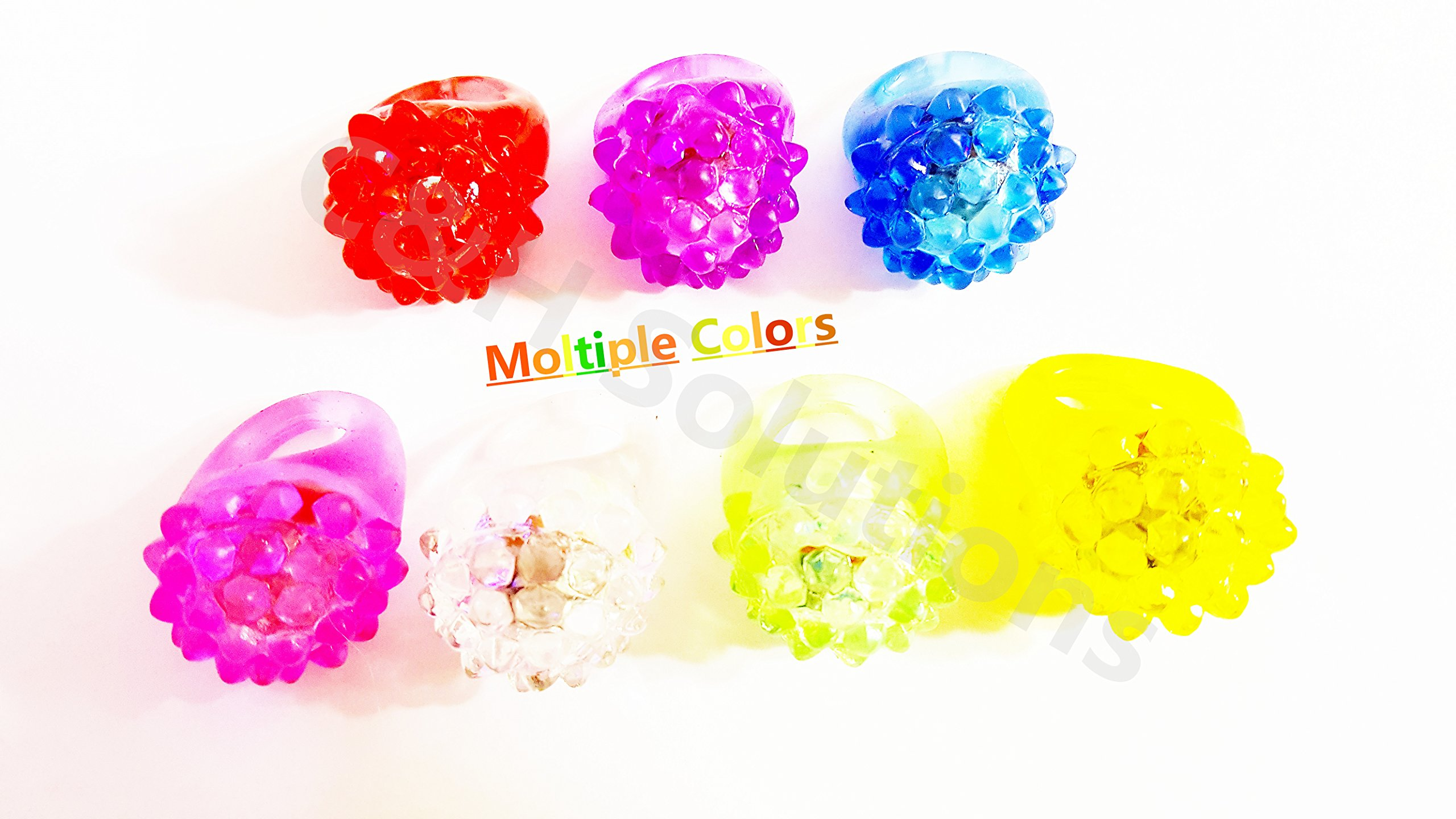 C&H Solutions Novelty 96 ct Flashing LED Bumpy Rings Blinking Soft Jelly Glow by C&H