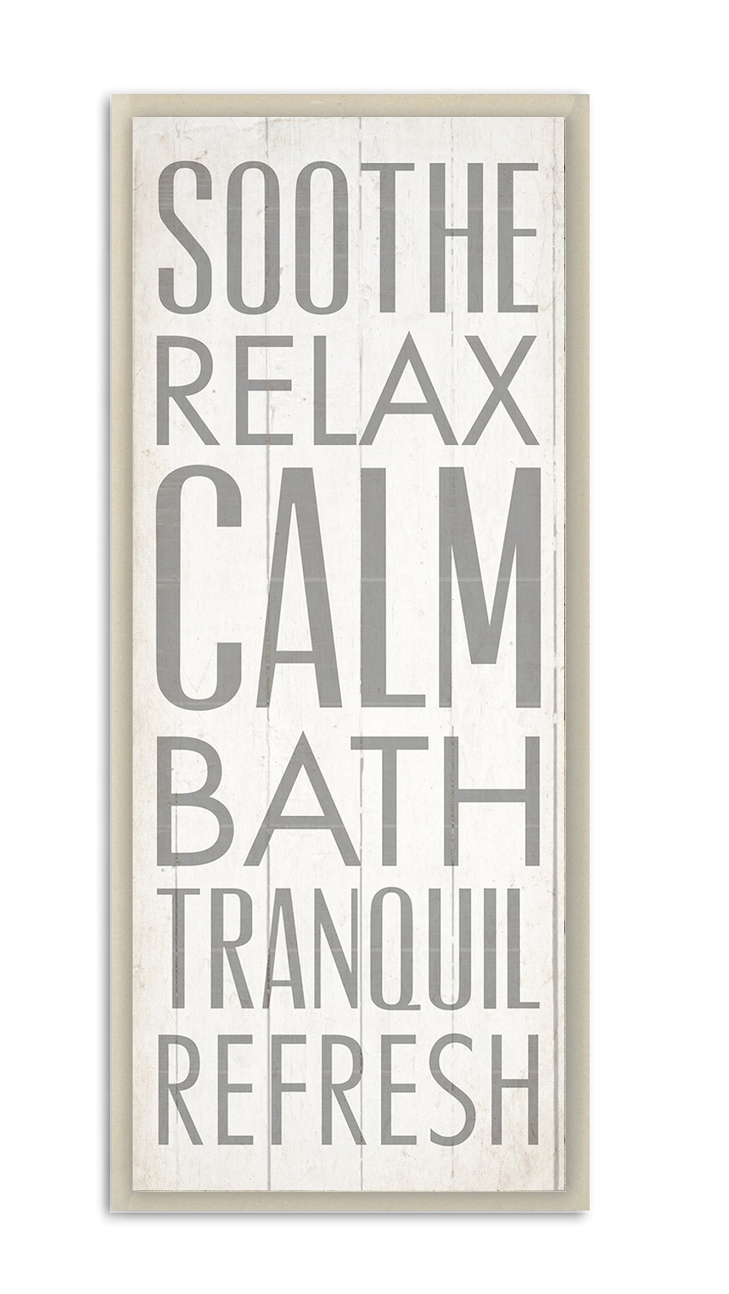 Stupell Home Décor Soothe Calm Relax Bath Bathroom Wall Plaque, 7 x 0.5 x 17, Proudly Made in USA