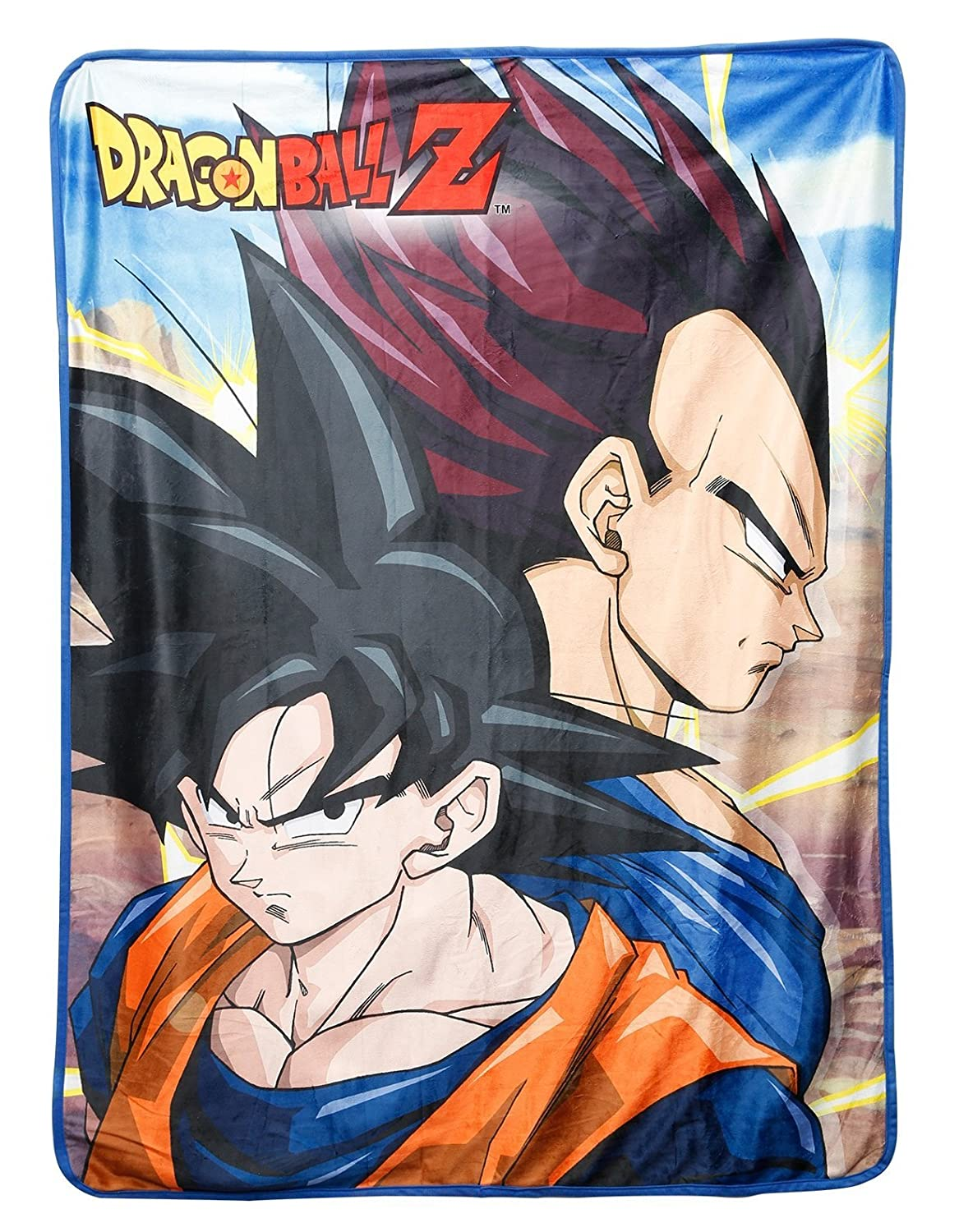Great Eastern Entertainment 57677 Dragon Ball Z-Goku & Vegeta Sublimation Throw Blanket, One Size, Multi/Colored