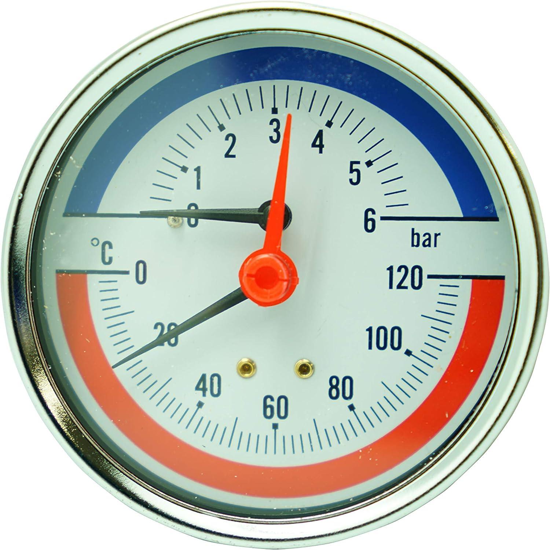 Termomanómetro 1,3 cm,6bar, 120ºC, 80 mm