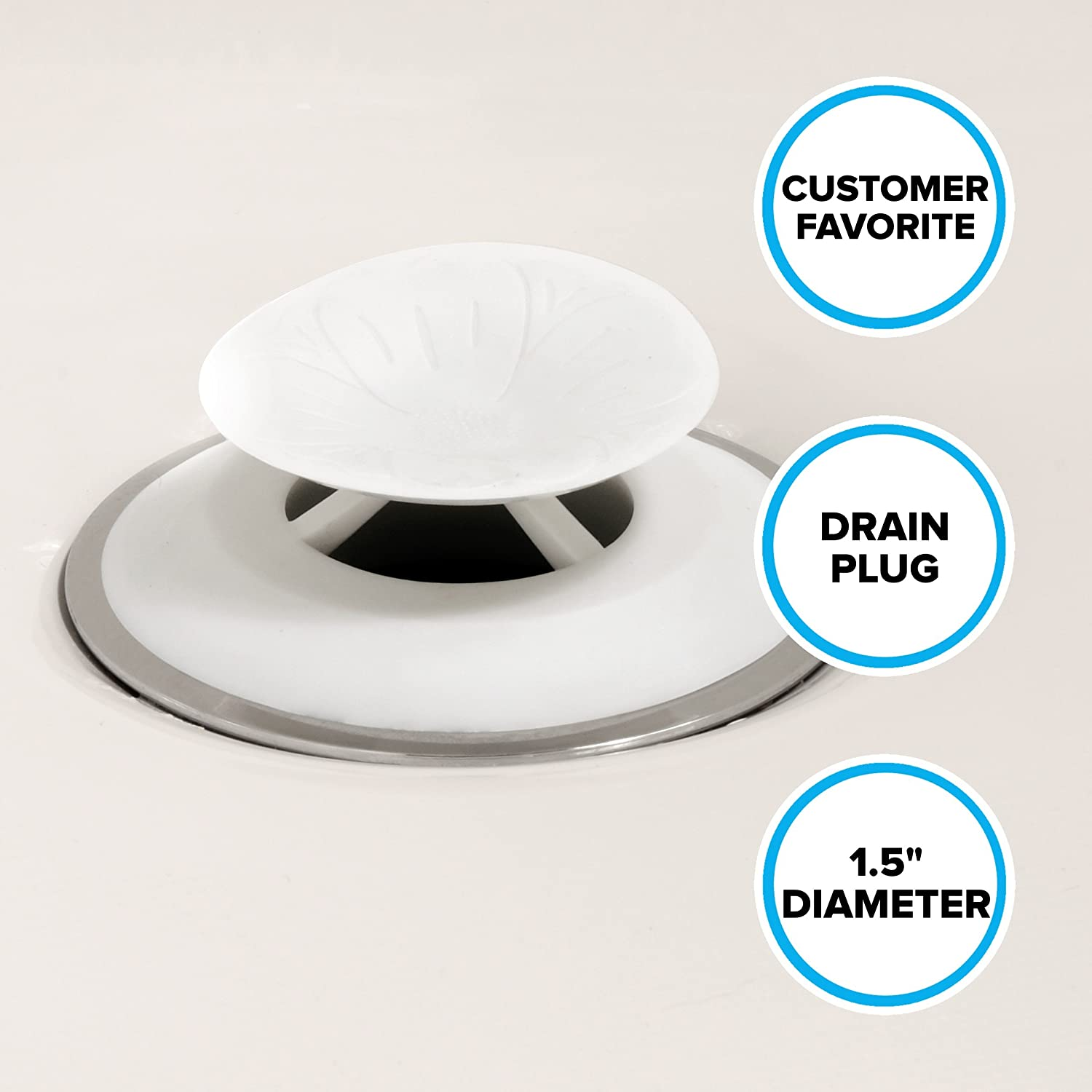 SlipX Solutions Snug Plug Bath Drain Stopper Seals Tightly Around Drain (Fits 1.5 Inch Open Drains, Great for Tubs, Easy Push Open/Close Design): Home & Kitchen