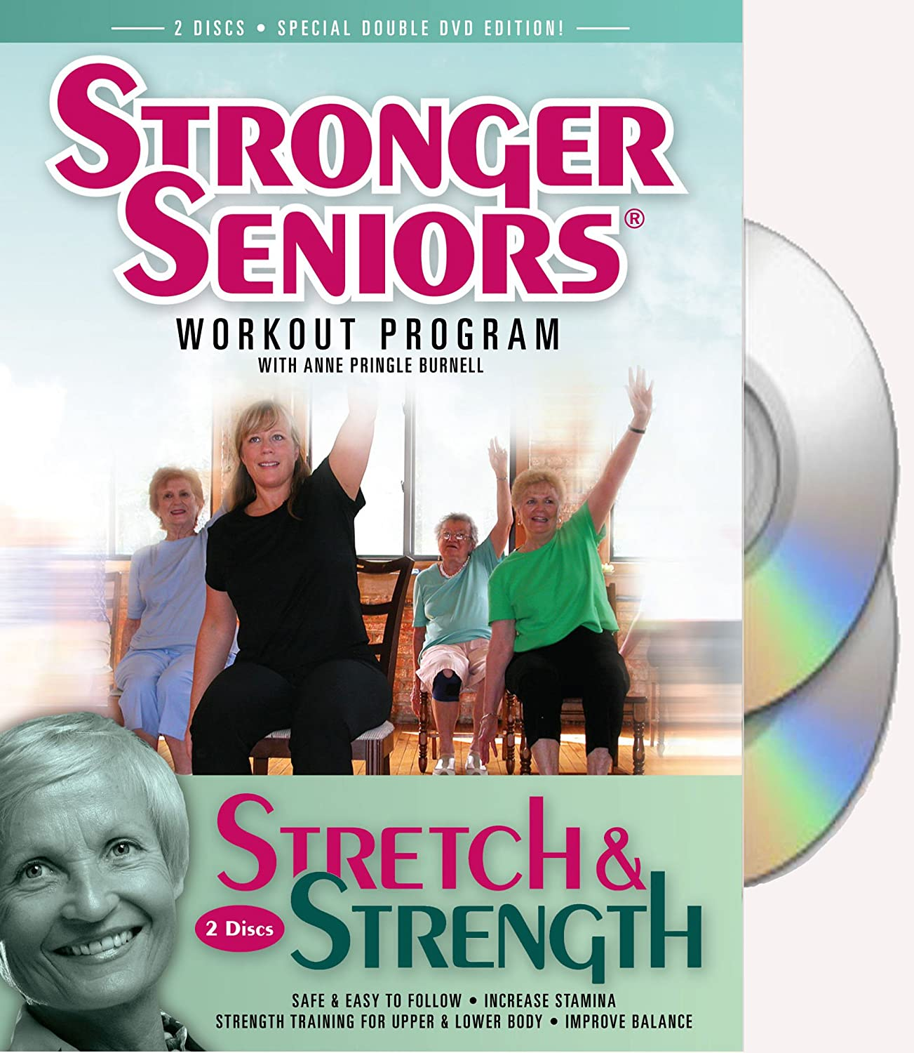 Amazon Com Stronger Seniors Stretch And Strength Dvds 2 Disc Chair Exercise Program Stretching Aerobics Strength Training And Balance Improve Flexibility Muscle And Bone Strength Circulation Heart Health And Stability Developed By Anne