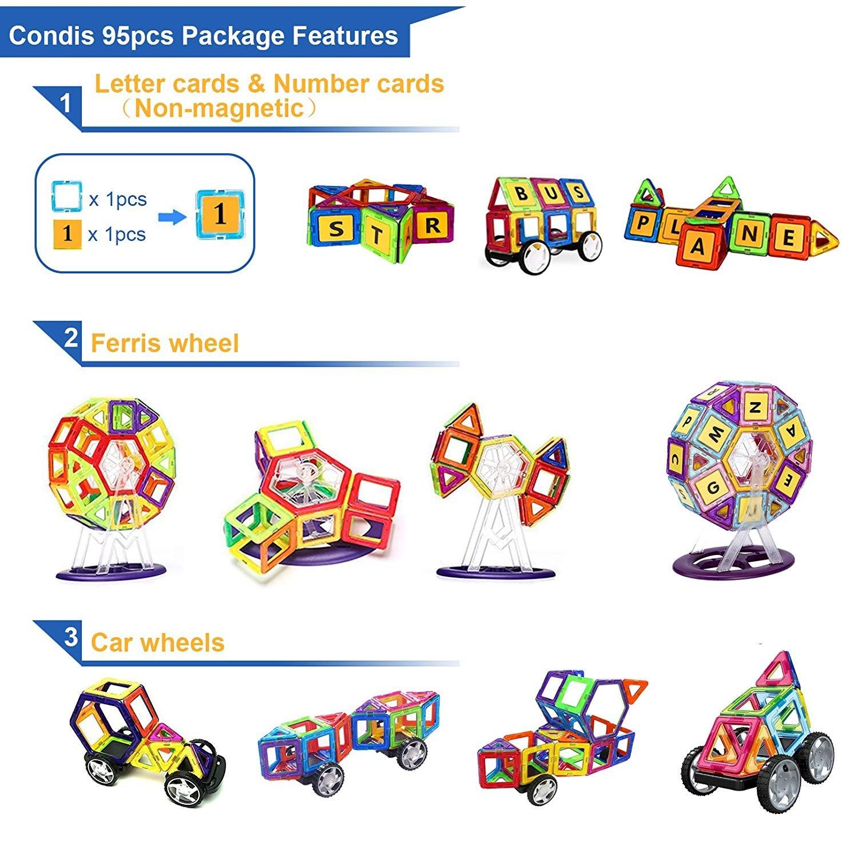 CONDIS Promotion à durée limitée 95 Pièce Blocs de Construction Magnétiques Jouet Éducatif Créatif de Construction Grande Roue Sac de Transport QM