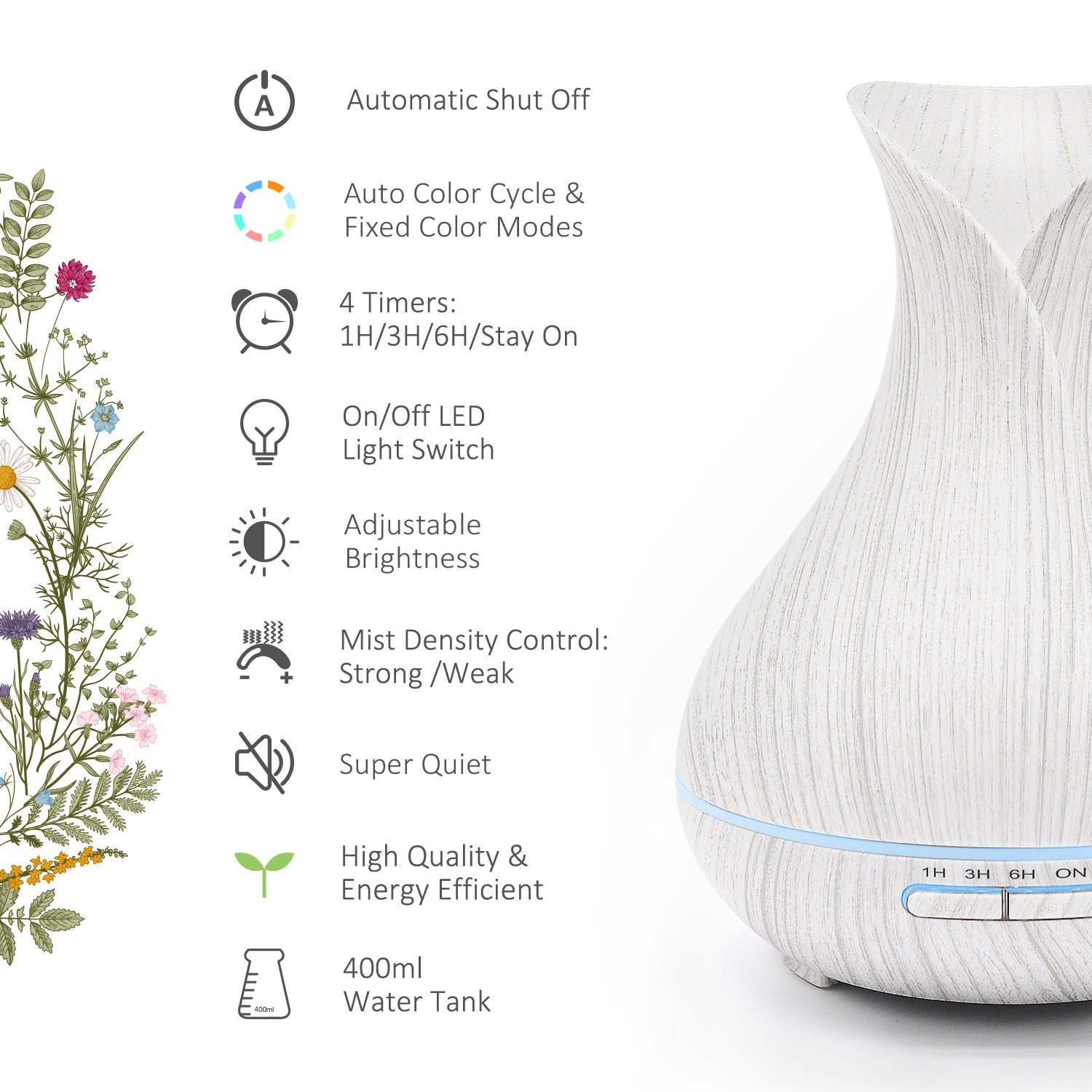 ASAKUKI 400ML Premium, Essential Oil Diffuser, Quiet 5-in-1 Humidifier, Natural Home Fragrance Diffuser with 7 LED Color Changing Light and Easy to Clean by ASAKUKI (Image #3)