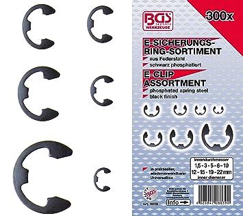 300-tlg E-Clip Externe Sicherungsringe Sortiment 1,5-22mm Seegeringe Sprengringe