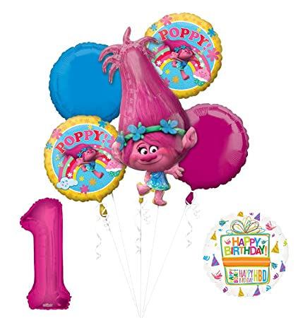 Image Unavailable Not Available For Color Mayflower Products NEW TROLLS POPPY 1st Birthday Party