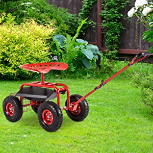 Kinbor Garden Cart Workseat Rolling Scooter with Extendable Steer Handle, Swivel Seat & Tool Tray Basket for Outdoor Planting Gardening, Red
