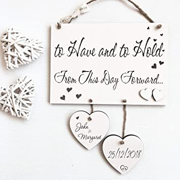 Missyjulia Ltd Personalised Handmade Wedding Wooden Plaque Sign Gift For Couples W61