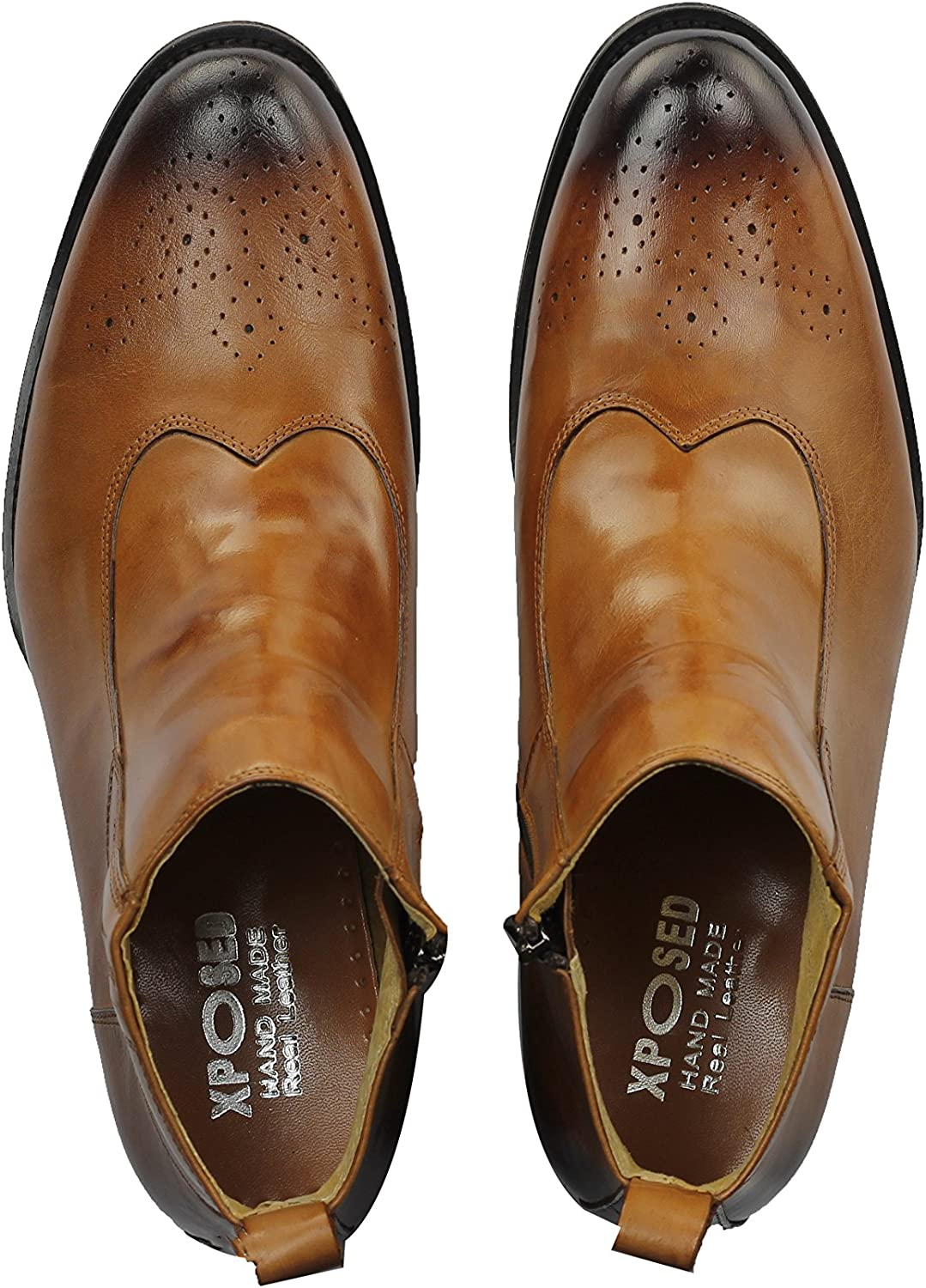 Mens Real Leather Tan Brown Side Zip Retro Brogue Boots Smart Casual Dress Shoes