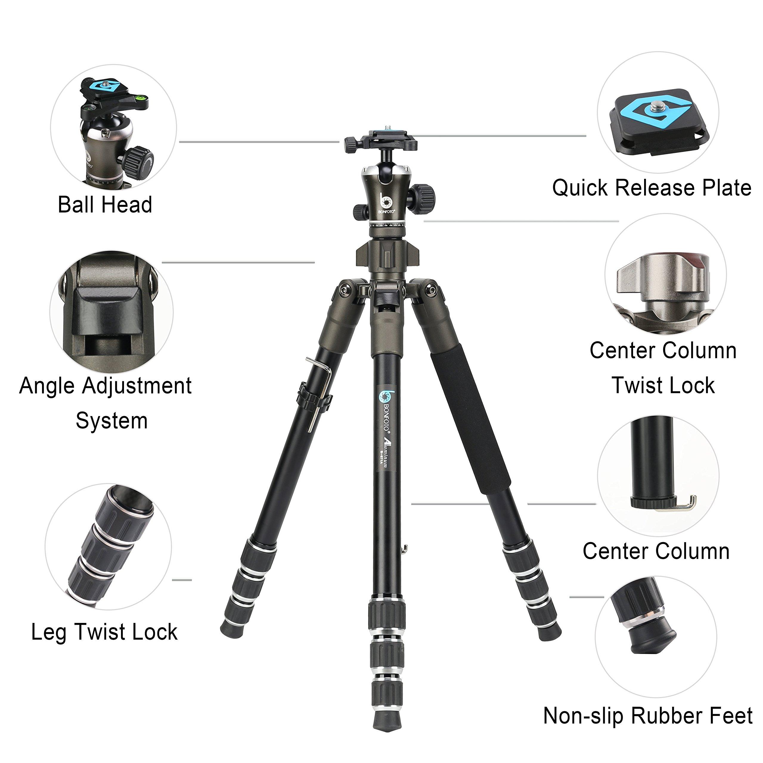 Travel tripod, BONFOTO Aluminum Camera B671A Tripod 55 inch Lightweight Travel with Two 1/4\