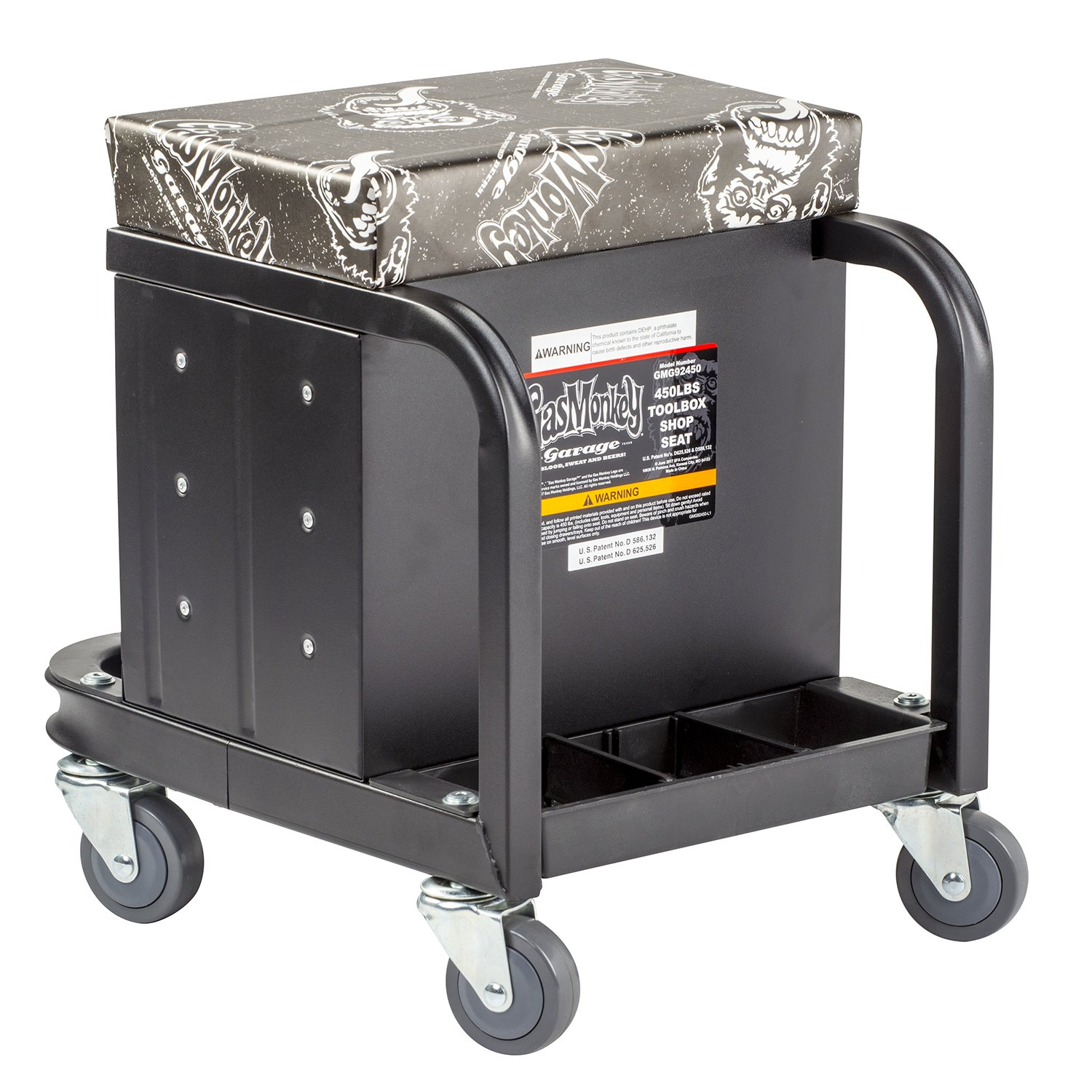 Gas Monkey Creeper Seat and Tool Box Combo - 3-Drawers Toolbox with 4 Rolling Casters - 450 Lbs Capacity by Gas Monkey (Image #5)