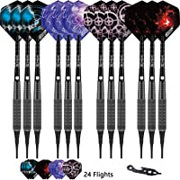 CyeeLife Soft tip Darts 16g+100Tips+Tool+24Flights+12 Aluminum shafts with Rubber Rings Gift Box Packaging Sliver/Black
